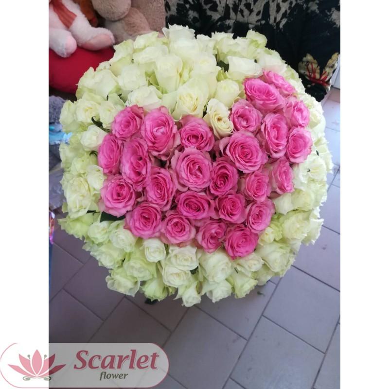 Букет 101 роза СЕРДЦЕ