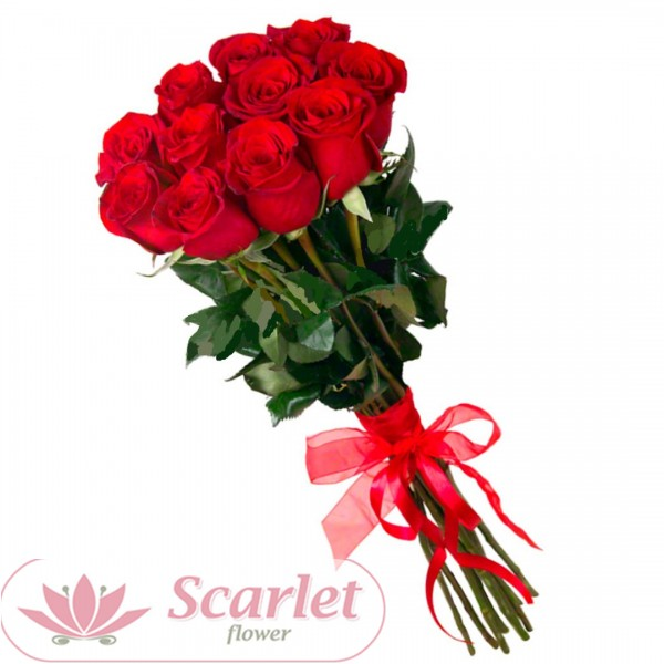 Букет 11 роз с атласной лентой