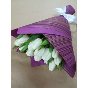 Букет 15 тюльпанов белые