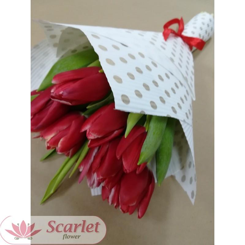 Букет 15 тюльпанов красные