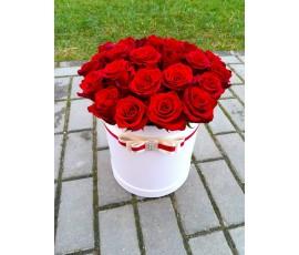 Цилиндр 35 красных роз.
